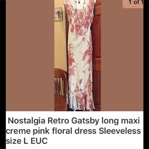 Nostalgia retro Gatsby pink & cream long dress L